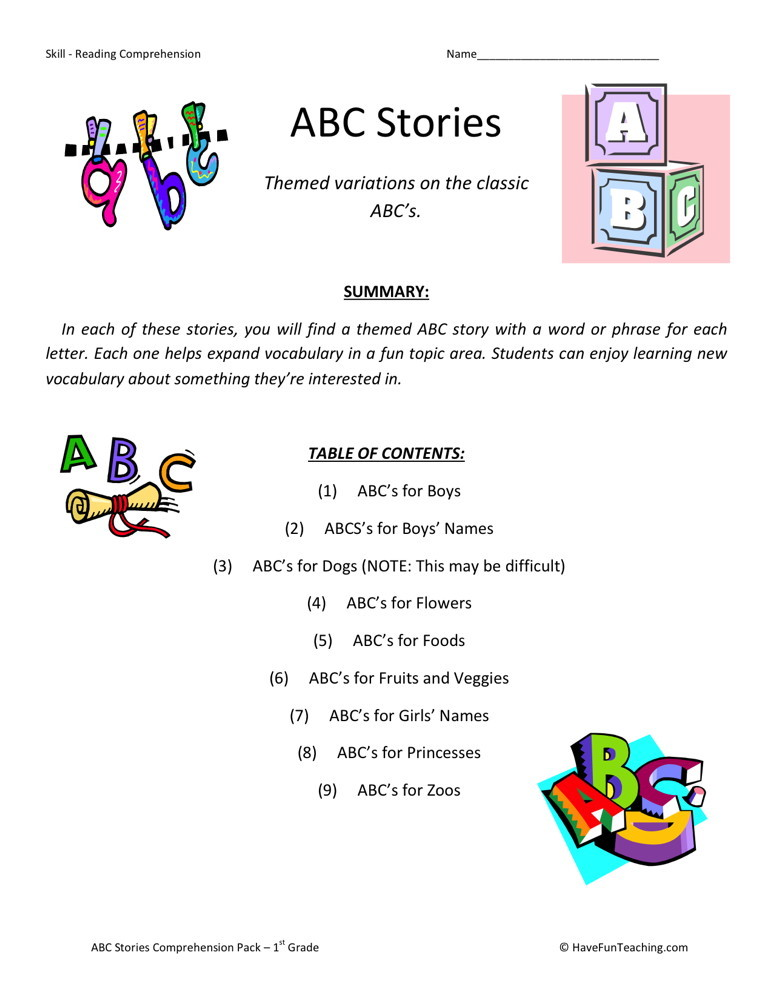 Reading Comprehension Worksheet - ABC Stories Collection