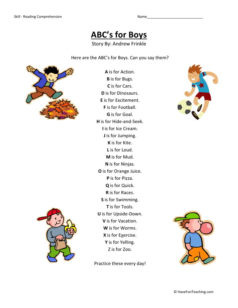 Reading Comprehension Worksheet - ABC's for Boys