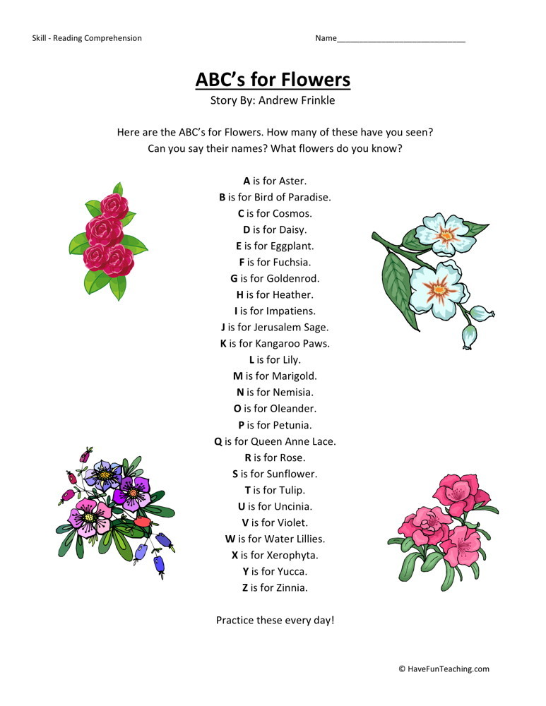Free Worksheets third grade english worksheets : Reading Comprehension Worksheet - ABCu0026#39;s for Flowers
