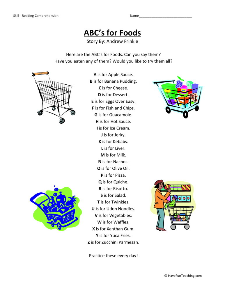 Reading Comprehension Worksheet - ABC's for Food