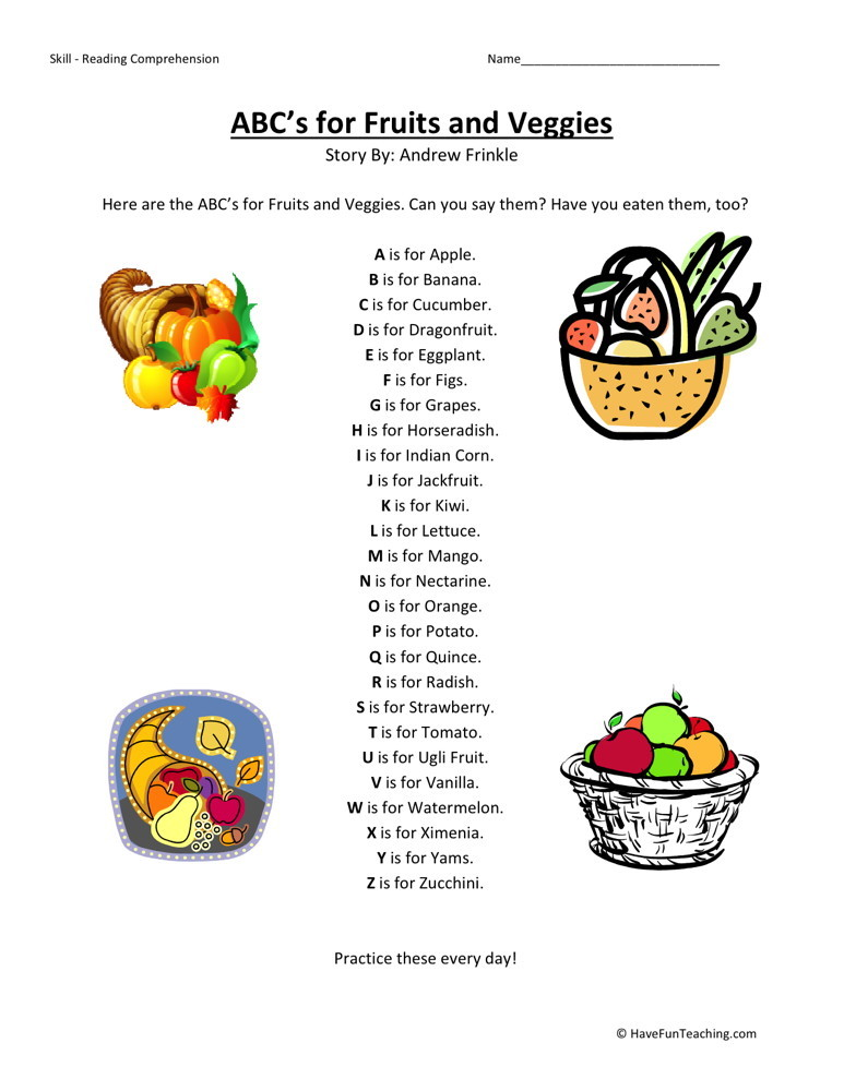 Reading Comprehension Worksheet - ABC's for Fruits and Veggies