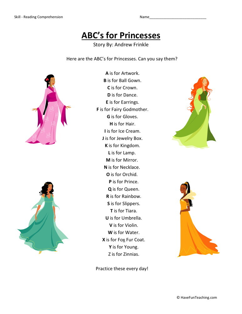 Reading Comprehension Worksheet - ABC's for Princesses