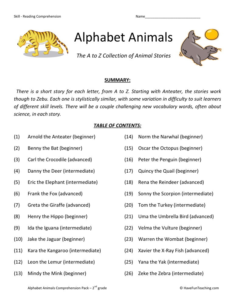 Reading Comprehension Worksheet - Alphabet Animals Collection