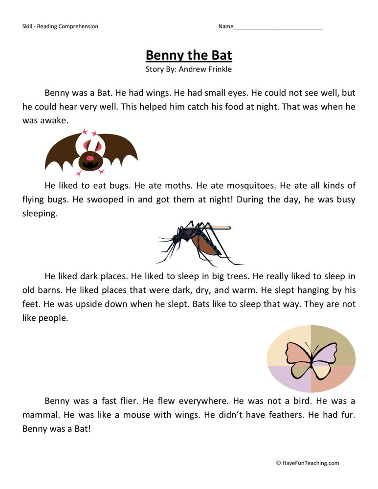 Reading Comprehension Worksheet - Benny the Bat
