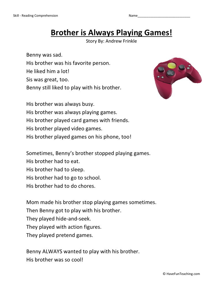 Reading Comprehension Worksheet - Brother is Always Playing Games