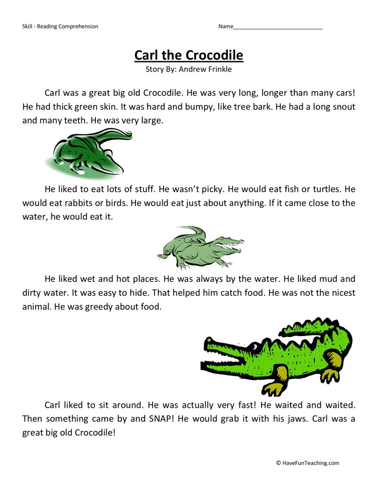 Reading Comprehension Worksheet - Carl the Crocodile