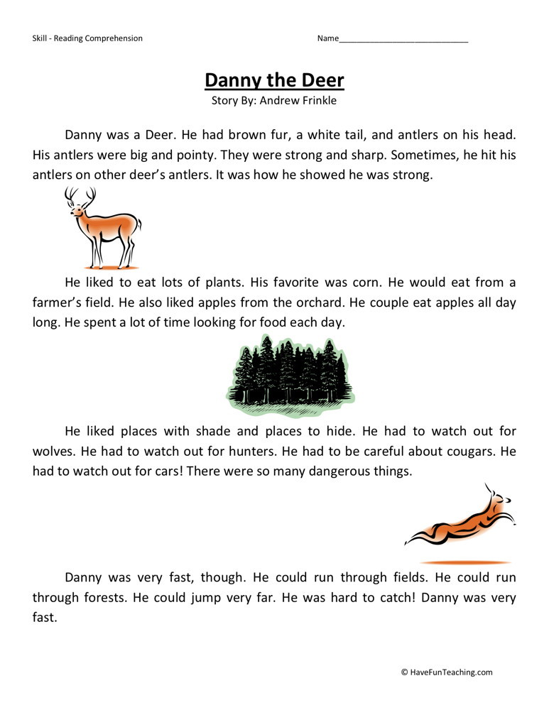 Reading Comprehension Worksheet - Danny the Deer
