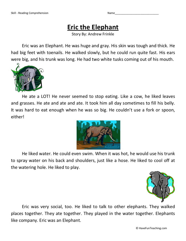 Reading Comprehension Worksheet - Eric the Elephant