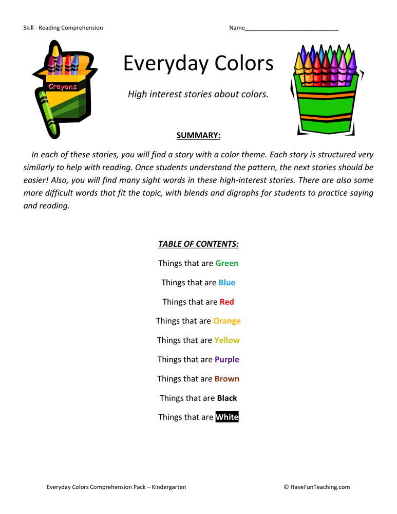 Reading Comprehension Worksheet - Everyday Colors Collection