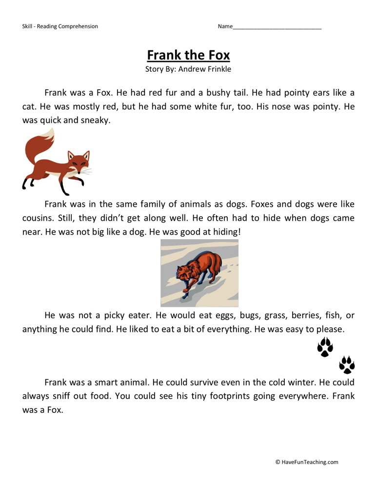 Reading Comprehension Worksheet - Frank the Fox