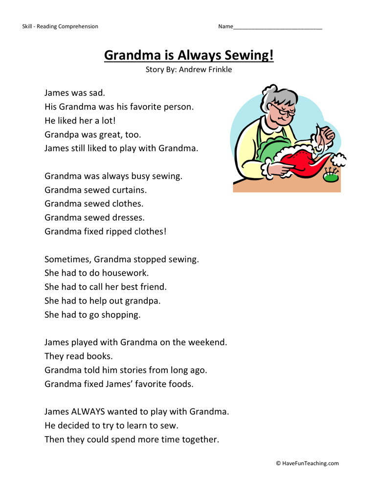 Worksheets Reading Comprehension Worksheets First Grade first grade reading comprehension worksheets grandma is always sewing download worksheet