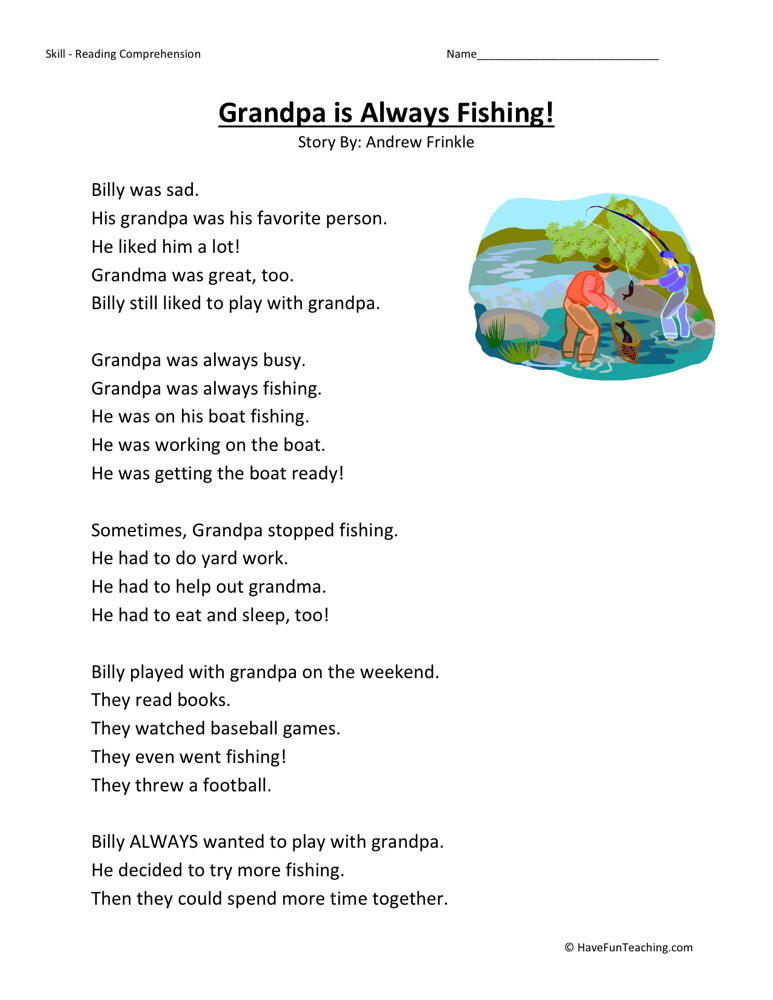 Reading Comprehension Worksheet - Grandpa is Always Fishing