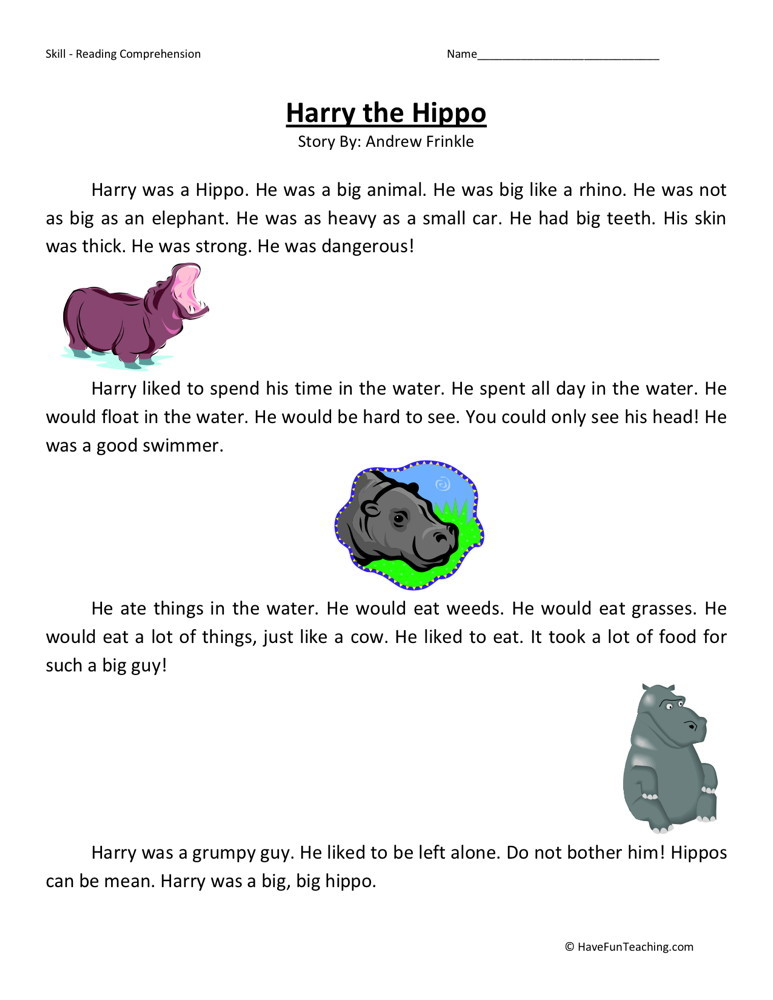 Reading Comprehension Worksheet - Harry the Hippo