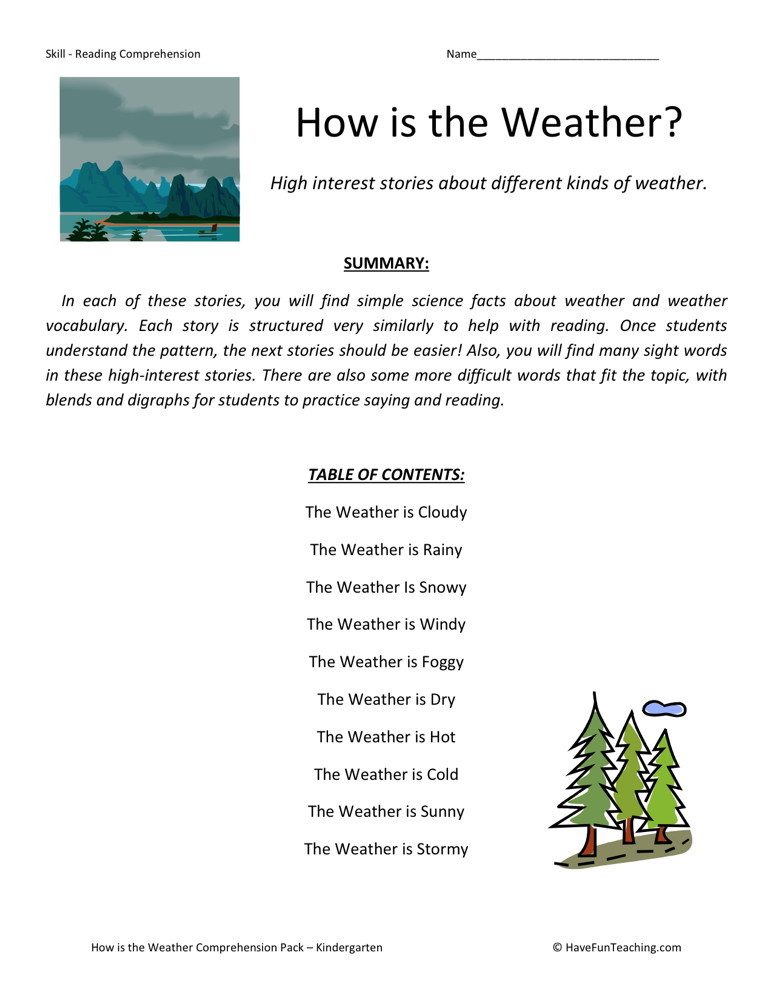 Reading Comprehension Worksheet - How is the Weather Collection