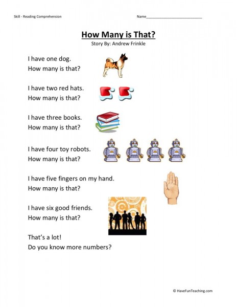 Reading Comprehension Worksheet - How Many is That?