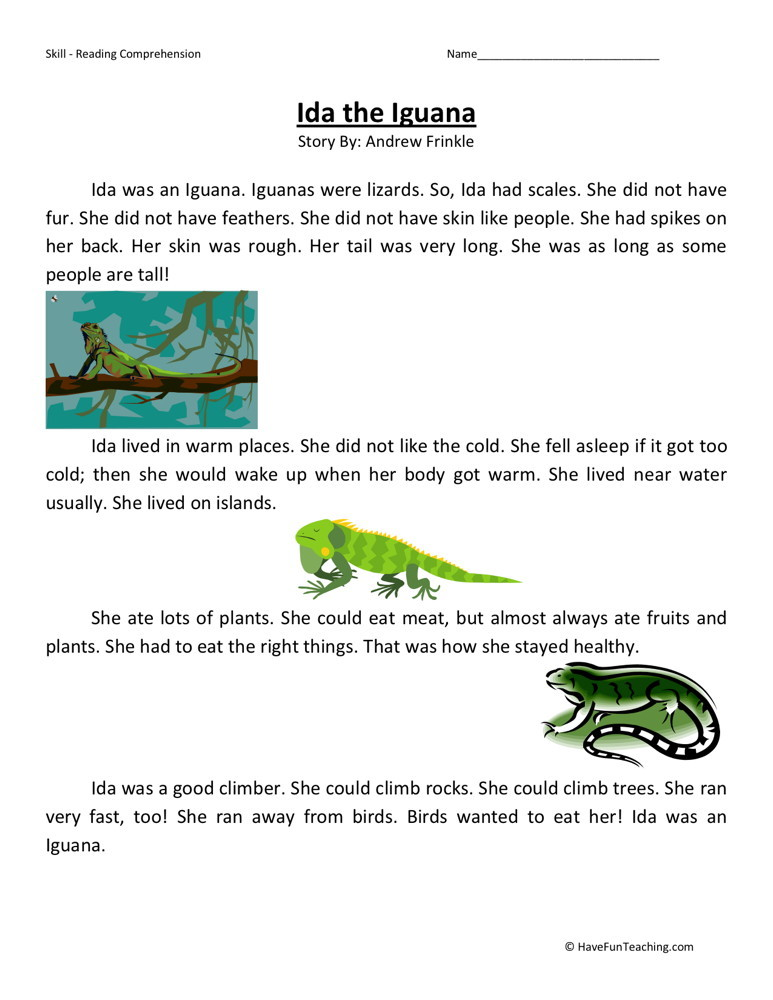 Reading Comprehension Worksheet - Ida the Iguana