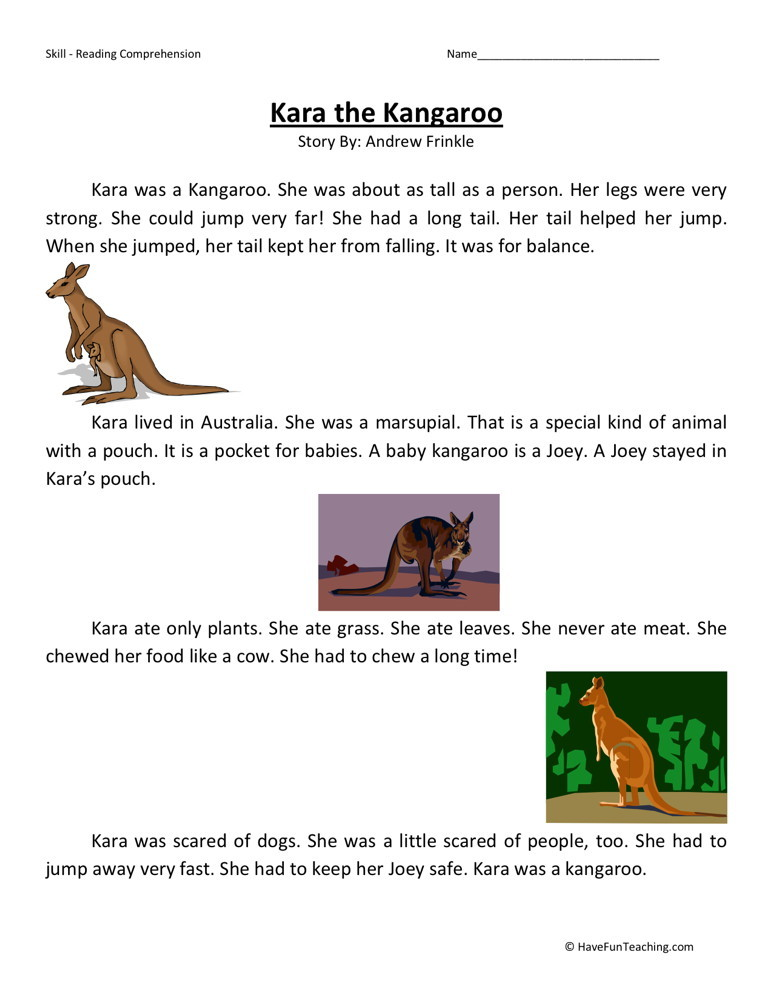 Reading Comprehension Worksheet - Kara the Kangaroo
