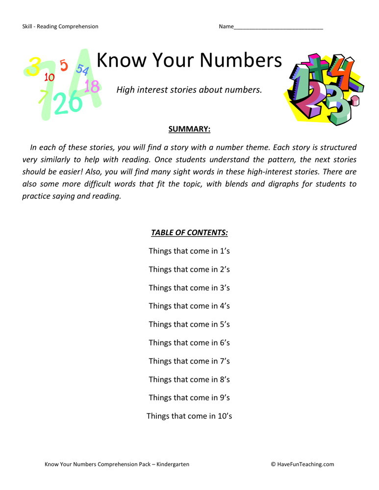 Reading Comprehension Worksheet - Know Your Numbers Collection