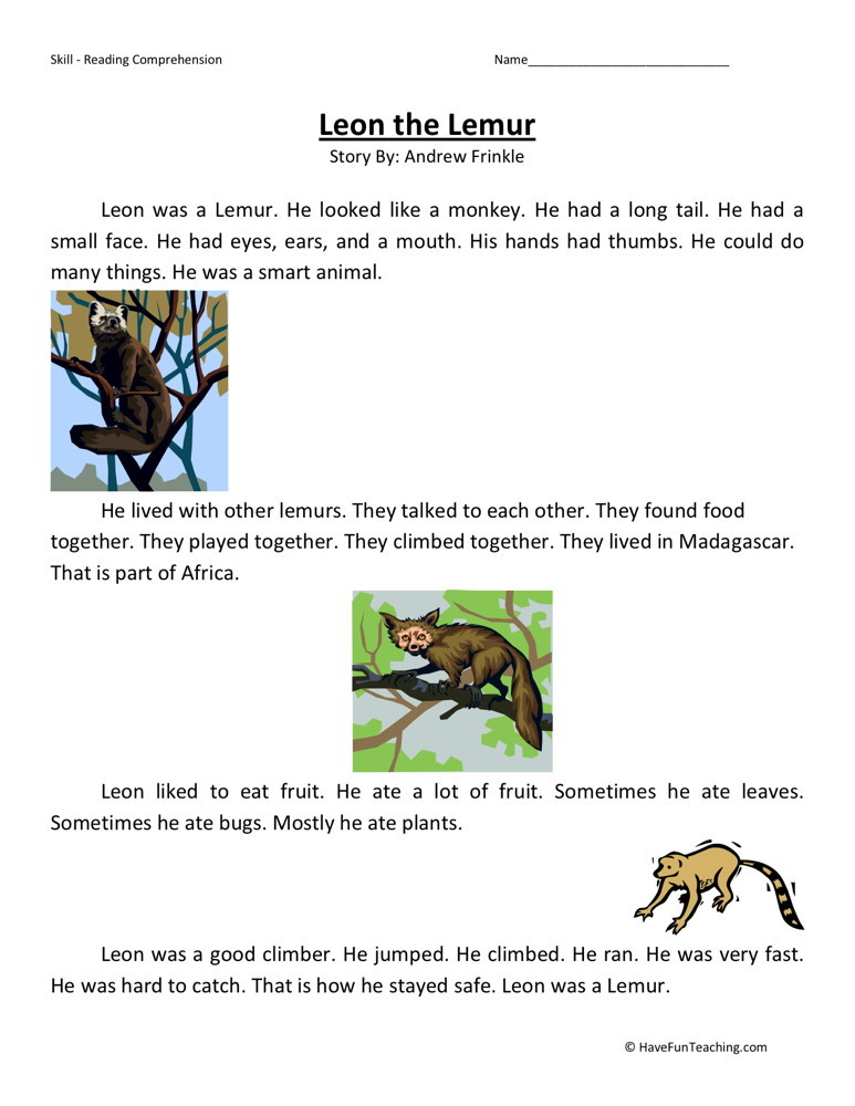 Reading Comprehension Worksheet - Leon the Lemur