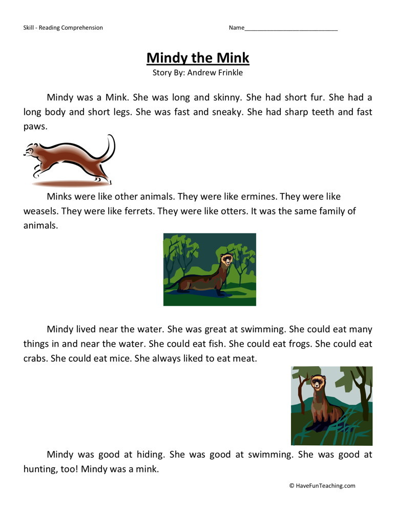 Reading Comprehension Worksheet - Mindy the Mink