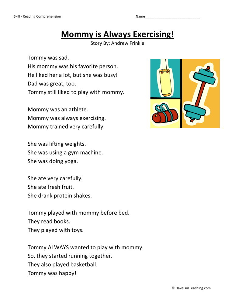 Reading Comprehension Worksheet - Mommy is Always Exercising