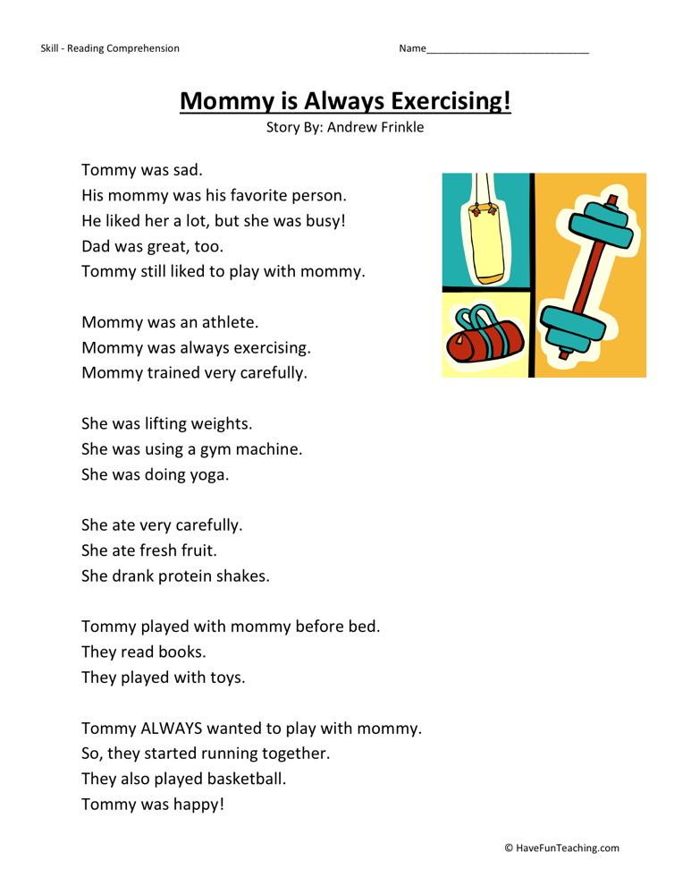 readingprehension worksheets first grade readingprehension