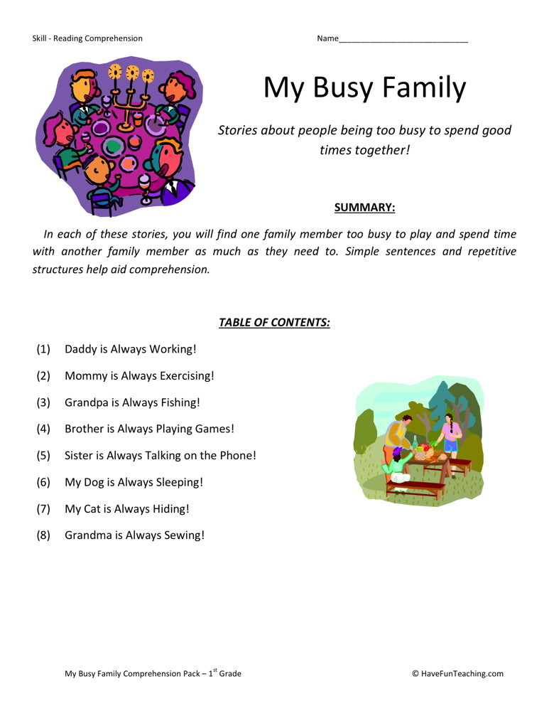 Reading Comprehension Worksheet - My Busy Family Collection