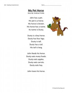 Reading Comprehension Worksheet - My Pet Horse