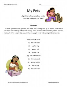 Reading Comprehension Worksheet - My Pets Collection