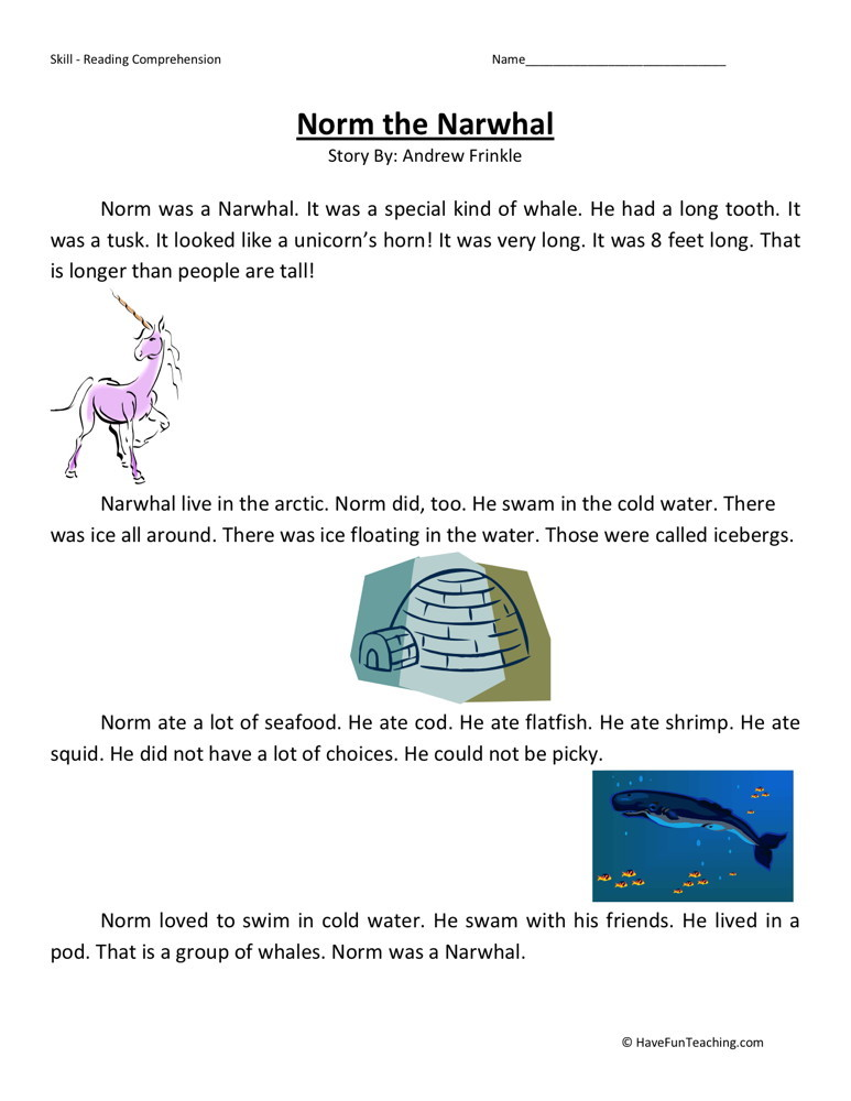 Reading Comprehension Worksheet - Norm the Narwhal