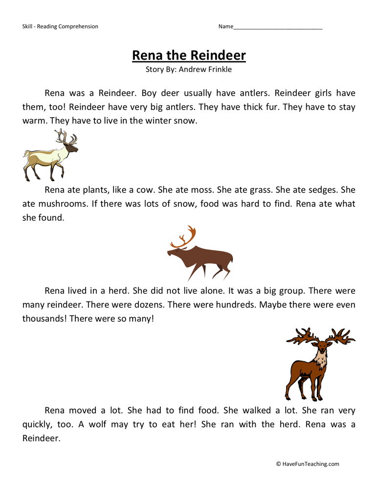 Reading Comprehension Worksheet - Rena the Reindeer