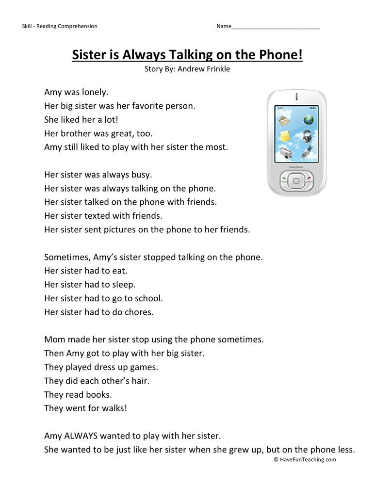 Reading Comprehension Worksheet - Sister is Always Talking on the Phone