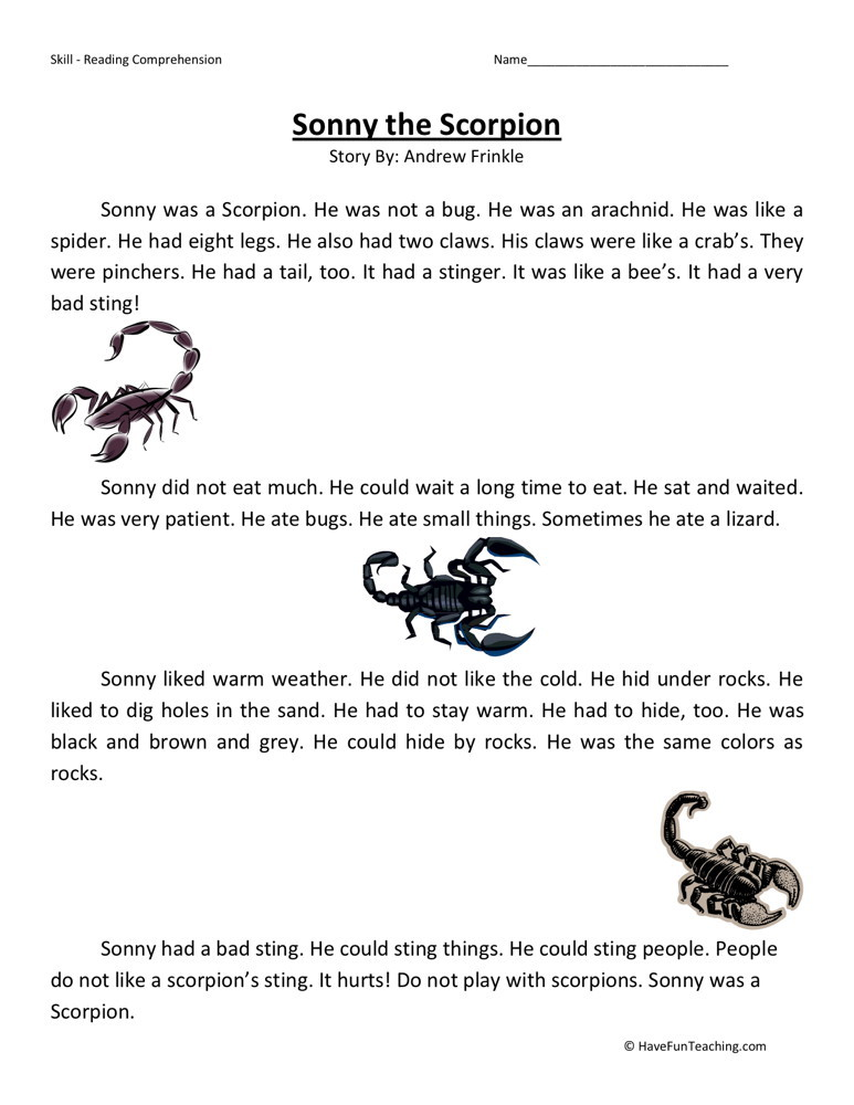 Reading Comprehension Worksheet - Sonny the Scorpion