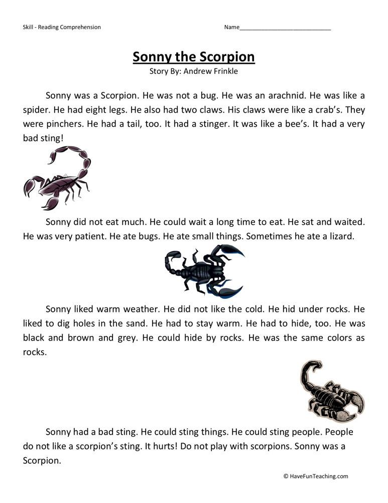 Reading Comprehension Worksheet - Sonny the Scorpion