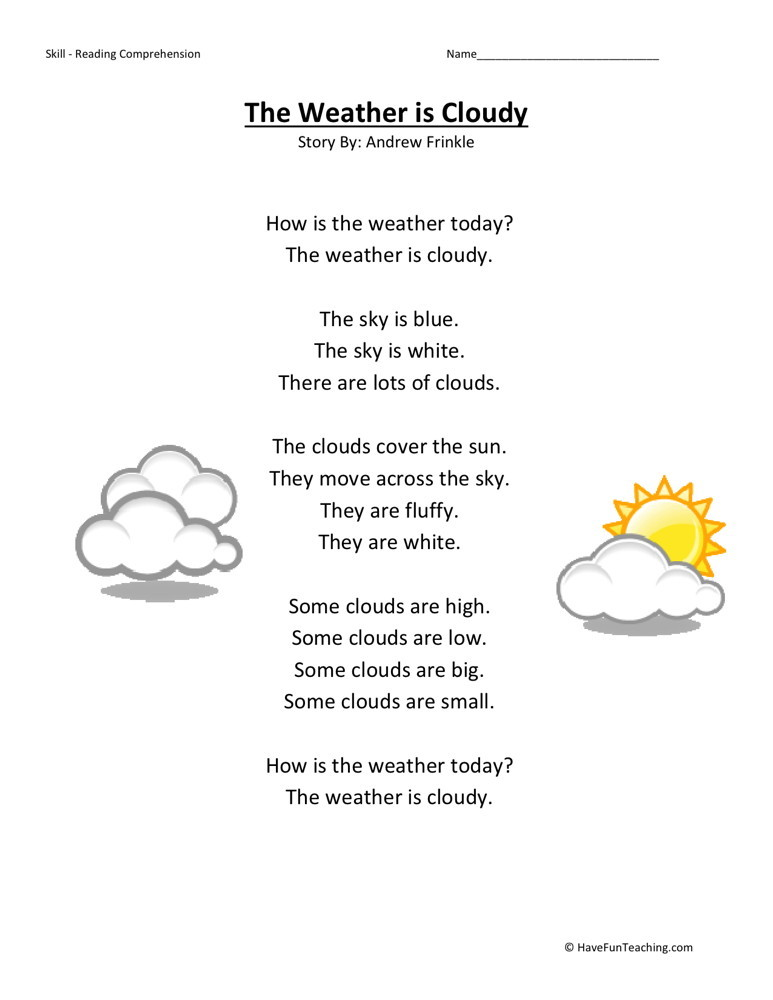 math worksheet : reading comprehension worksheet  weather is cloudy : Reading Comprehension For Kindergarten Worksheets