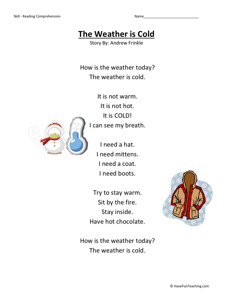 Printable Worksheets reading and comprehension worksheets for grade 4 : Comprehension Worksheet - Weather is Cold
