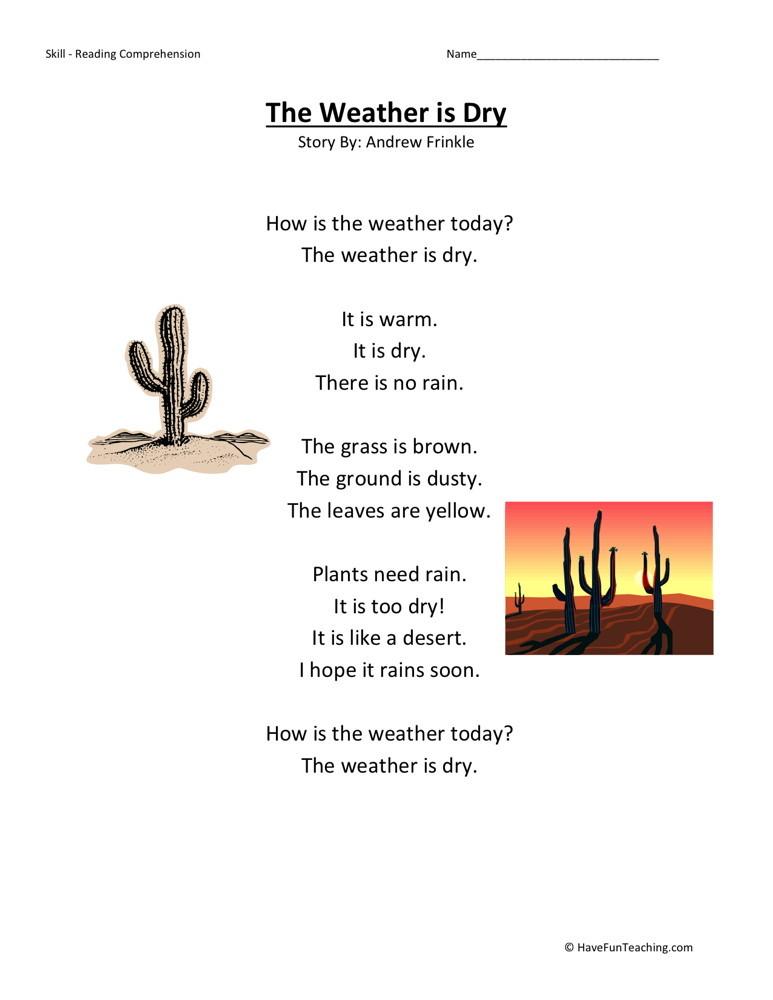 Reading Comprehension Worksheet - Weather is Dry