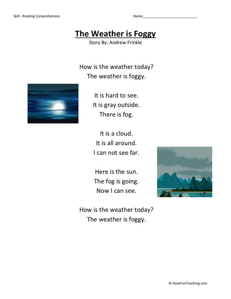 Reading Comprehension Worksheet - Weather is Foggy