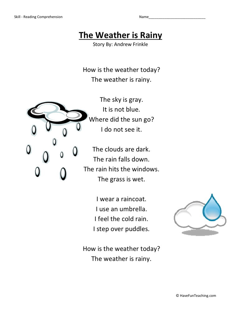 Reading Comprehension Worksheet - Weather is Rainy
