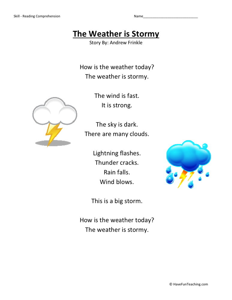 Reading Comprehension Worksheet - Weather is Stormy