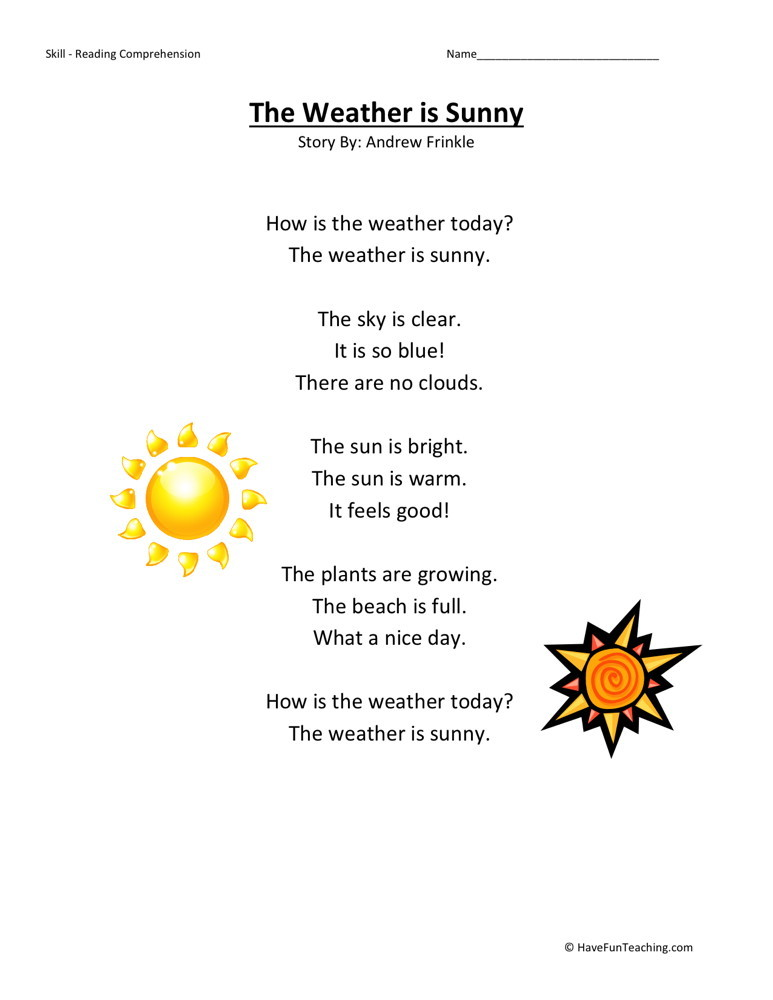Reading Comprehension Worksheet - Weather is Sunny