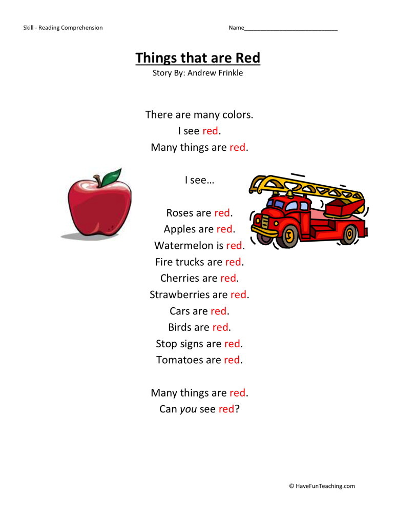 Reading Comprehension Worksheet Things That Are Red