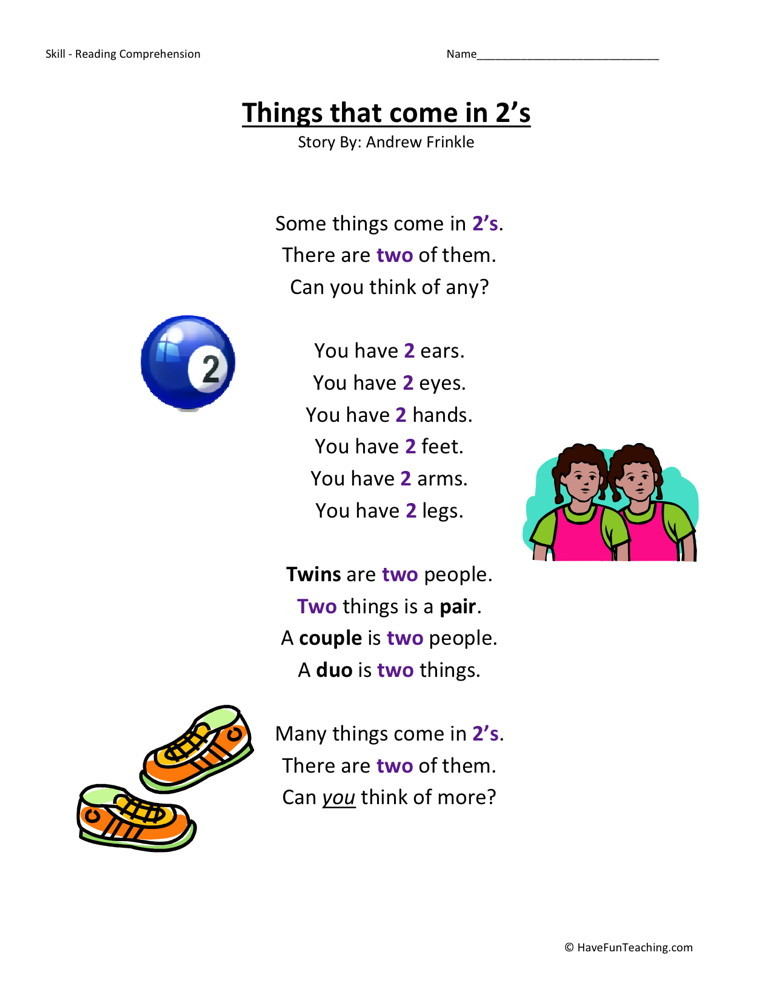 Reading Comprehension Worksheet - Things That Come in 2s