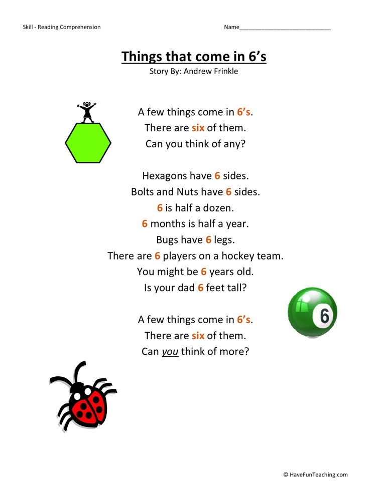 Reading Comprehension Worksheet - Things That Come in 6s