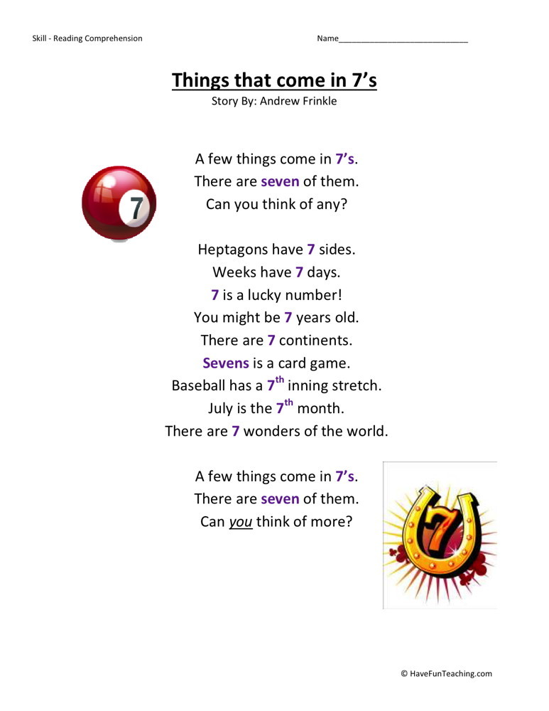 Reading Comprehension Worksheet - Things That Come in 7s