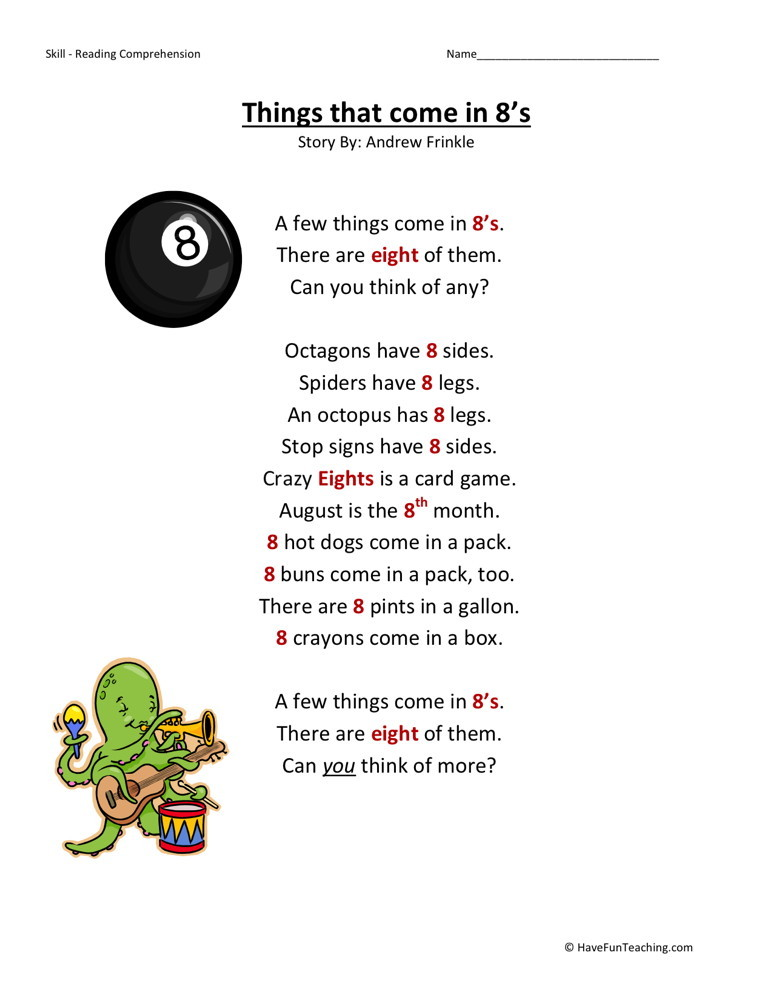 Reading Comprehension Worksheet - Things That Come in 8s