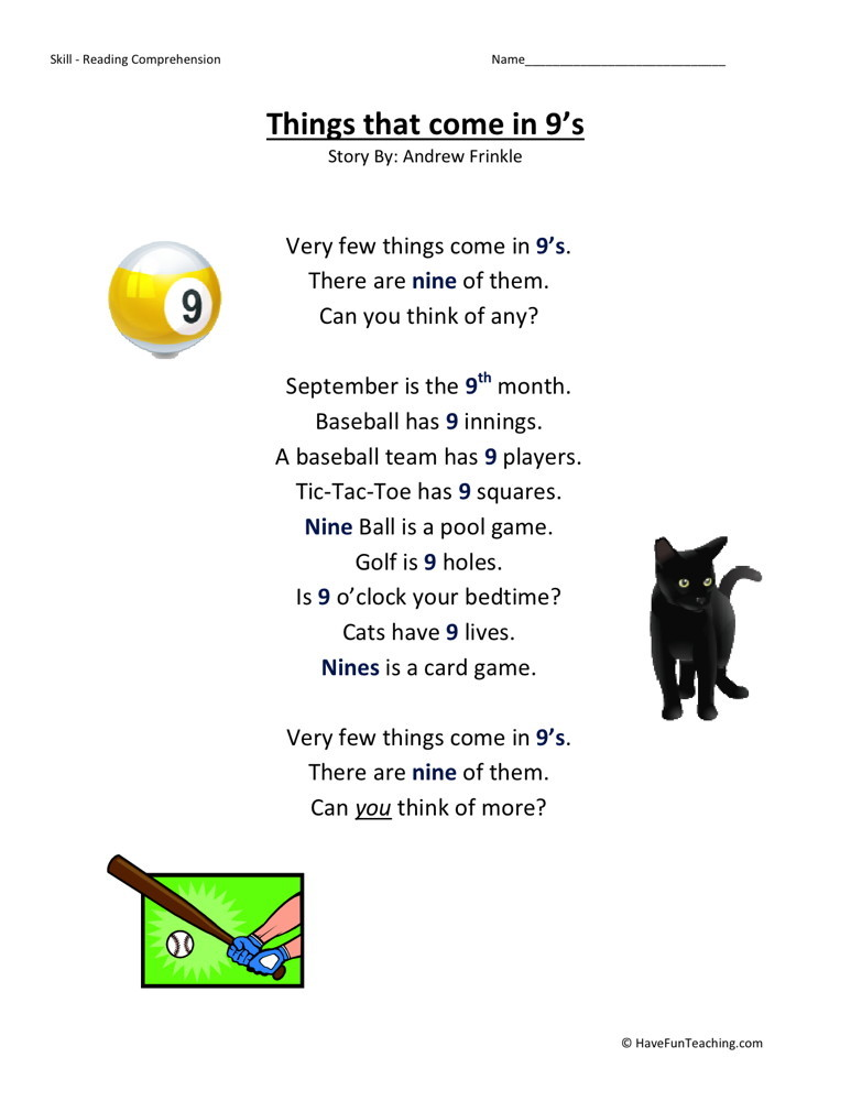Reading Comprehension Worksheet - Things That Come in 9s