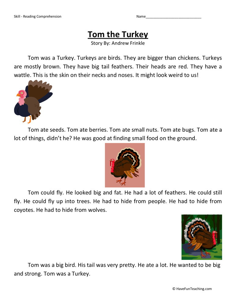 Reading Comprehension Worksheet - Tom the Turkey