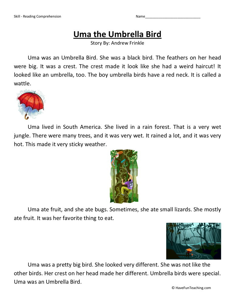 Reading Comprehension Worksheet - Uma the Umbrella Bird