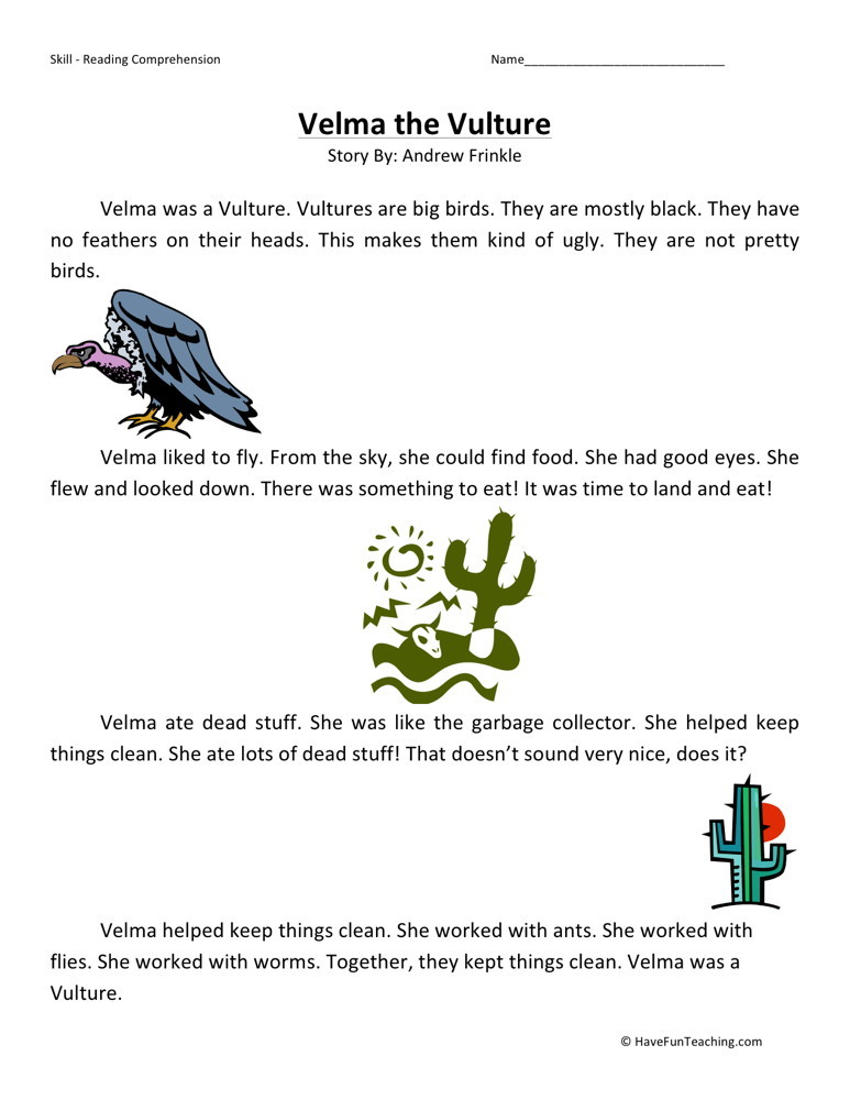 Reading Comprehension Worksheet - Velma the Vulture